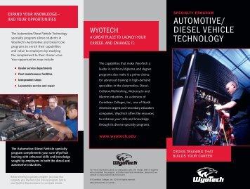 AUTOMOTIVE/ DIESEL VEHICLE TECHNOLOGY - WyoTech Tour