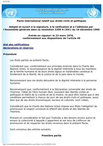 Pacte international sur les droits civils et politiques - Langues d ...