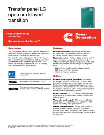 Transfer panel LC open or delayed transition