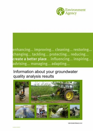Information about your groundwater quality analysis results