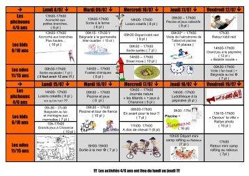Programme des vacances mois de juillet - Ville de Gap