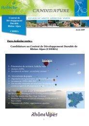 Dossier de candidature - Syndicat Mixte Ardèche Verte