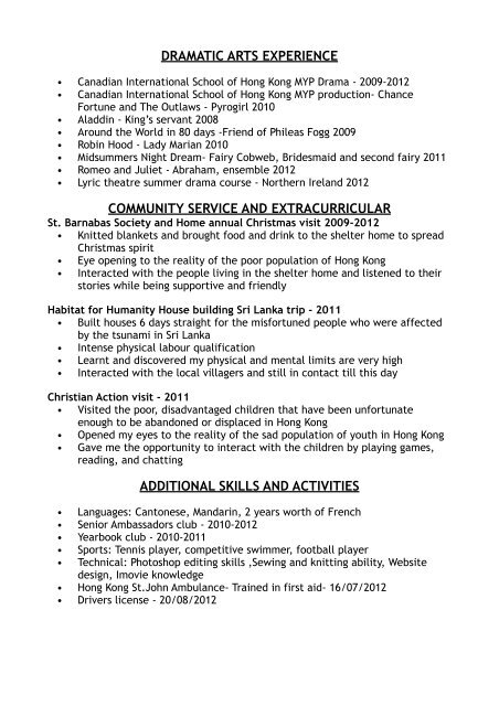 Sian McKeever Resume - Canadian International School of