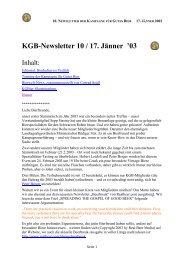 Newsletter Ausgabe 10 / 17. Jänner 2003 - Kampagne für Gutes Bier