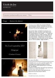 Stage - Autour du silence Du 2 au 6 septembre 2013 ... - Ecole du jeu