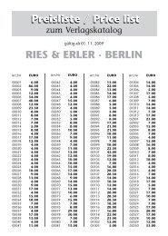 Preisliste / Price list Preisliste / Price list RIES & ERLER · BERLIN
