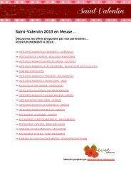 Offre Saint-Valentin 2013 - Tourisme en Meuse