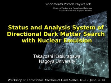 Status and Analysis System of Directional Dark Matter Search with ...