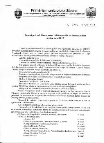 Acces informaţii de interes public 2012 - Primăria Municipiului Slatina