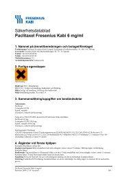 Säkerhetsdatablad Paclitaxel Fresenius Kabi 6 mg/ml