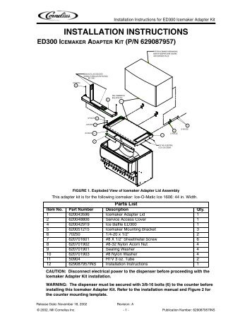 installation instructions ed300 icemaker adapter kit (p/n 629087957)