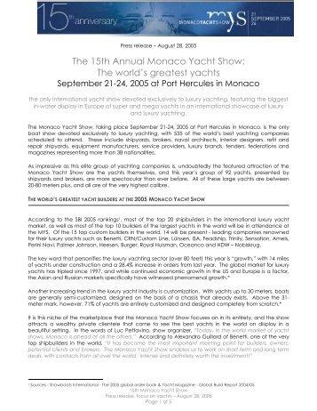 The 15th Annual Monaco Yacht Show: - BYM News