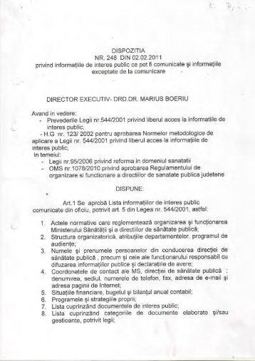 Dispozitia 248/2 feb. 2011 privind informatiile de interes public ce ...
