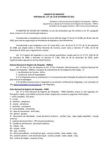 GABINETE DO MINISTRO PORTARIA No- 177, DE 13 DE ... - SNRHos