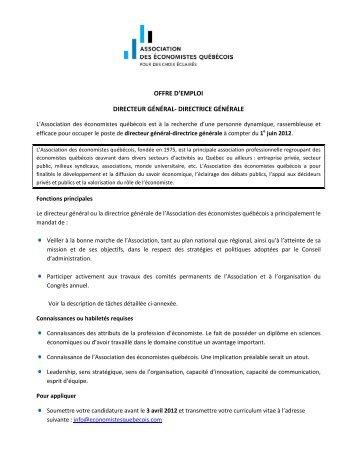 offre d'emploi directeur général- directrice générale
