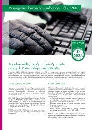 Management bezpečnosti informací - ISO 27001 - DEKRA Certification