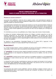 Projet Formation Emploi - Centre Inffo