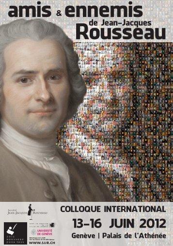 Amis et ennemis Jean-Jacques Rousseau - CRHQ - CNRS
