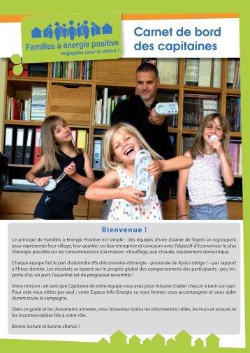 Carnet de bord des capitaines - Défi Familles à énergie positive