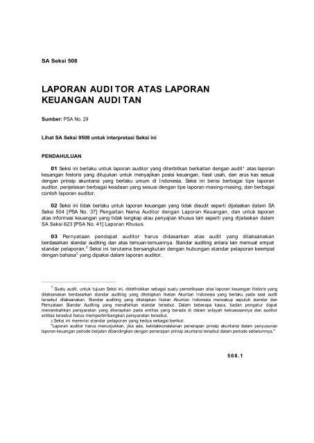 Laporan Audi Tor Atas Laporan Keuangan Audi Tan Member Of