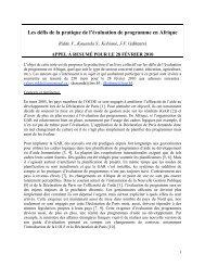 Les défis de la pratique de l'évaluation de programme en ... - Amades