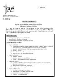 VACANCE DE POSTE - Mairie de Joué lès Tours