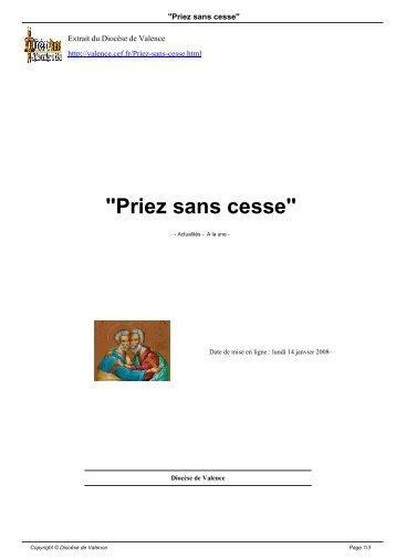 """""""Priez sans cesse"""" - Diocèse de Valence"""