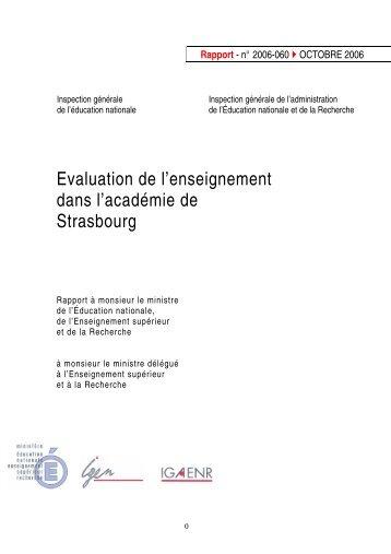 Évaluation de l'enseignement dans l'académie de Strasbourg