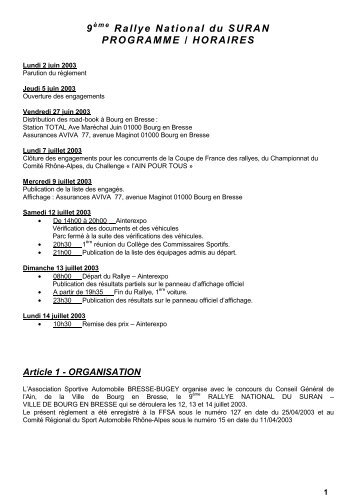 Reglement - Championnat suisse des rallyes