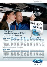 Fixní ceny servisních prohlídek (pro osobní vozy) - FORD Service