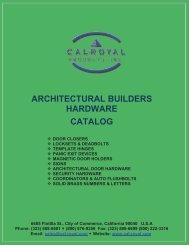 ARCHITECTURAL BUILDERS HARDWARE CATALOG - Cal-Royal