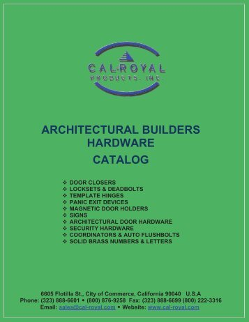 ARCHITECTURAL BUILDERS HARDWARE CATALOG - Cal-Royal