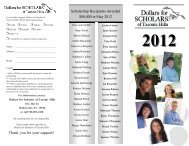 Scholarship Recipients Awarded $80000 in May 2012 Thank you for ...