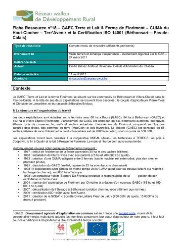 GAEC Terre et Lait & Ferme de Florimont - Réseau wallon de ...