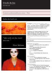 """"""" Qui cache son fou, meurt sans voix """" Henri Michaux - Ecole du jeu"""