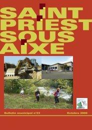 Octobre 2008 Bulletin municipal n°23 - Saint-Priest-sous-Aixe
