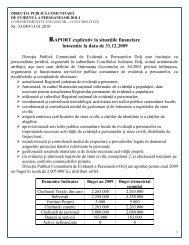 Raport explicativ situatii financiare 31.12.2009 - Evidenta a ...