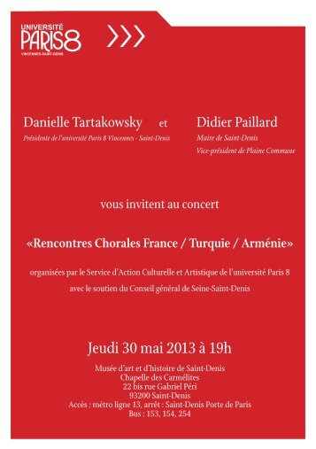 Jeudi 30 mai 2013 à 19h - Université Paris 8