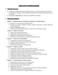 OBJECTIFS D'APPRENTISSAGE 1. Objectifs généraux 2. Objectifs ...