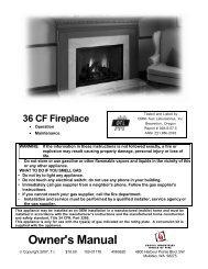 36 CF Fireplace - Travis Industries Dealer Services Login Page