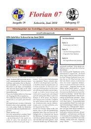 Florian 07 Ausgabe 29 Schwerin, Juni 2010 Jahrgang 15