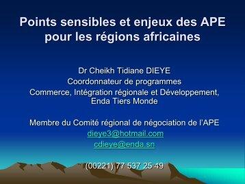 Points sensibles et enjeux des APE pour les régions ... - ITUC-Africa