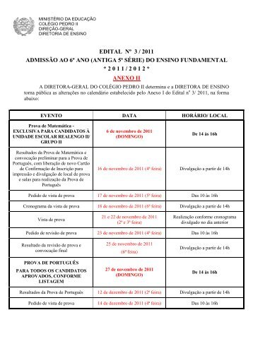 EDITAL No 3/2011 - Colégio Pedro II