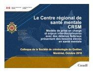 Le Centre régional de santé mentale CRSM - Ateliers thématiques ...