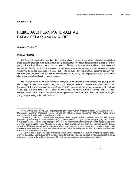 Risiko Audit Dan Materialitas Dalam Pelaksanaan Audit