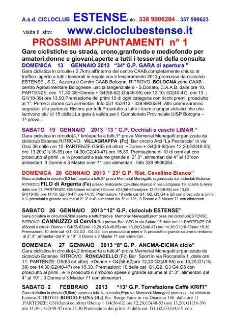 APPUNTAMENTI GARE 2013.pdf - Ruote Amatoriali