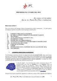 PREMIERS PAS À PARIS 2011-2012 Aux « anciens » et à ... - JPC