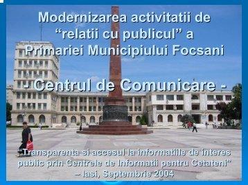 Relatii cu publicul Focsani - ANCIC