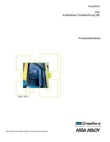 Crawford 670 Aufblasbare Torabdichtung SIB Produktdatenblatt