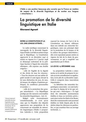 La promotion de la diversité linguistique en Italie - Langues d ...